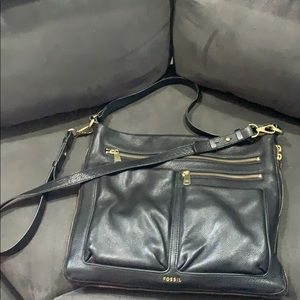 Authentic Fossil black 100% cow leather Beautiful!